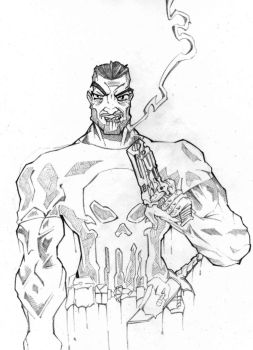Punisher Pencil Sketch by greenhickup