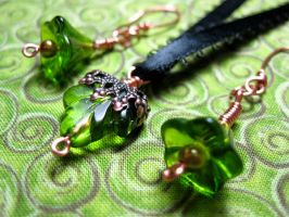 Emerald Leaves and Petals Set by AtlantisAK-Jewelry