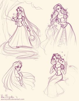 Rapunzel sketches by asa-bryndis