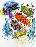 Dance Of The Eevees by ARVEN92