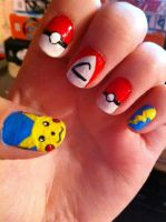 Pokemon nails. by HummingbirdHeartbeat