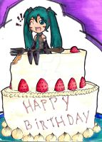 Com: Birthday Cake and Miku by soifon987
