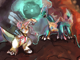 Dialga and Palkia by LizardonEievui13