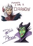 Flemeth and Maleficent by Asilic