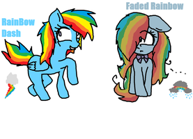 Rainbow Dash and her daughter Faded Rainbow by TeaTheHamster