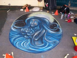 Pavement art Mother and Baby. by CptMunta