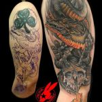 Dragon and Skull Cover-Up Tattoo by Jackie Rabbit by jackierabbit12
