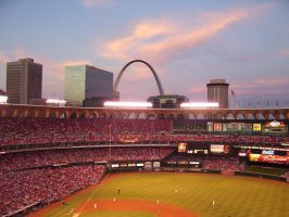 Busch Stadium and the Arch by lulabug