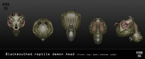 3D Blackmouthed reptile demon by hyokka