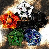 Elemental pentagrams by Naeddyr