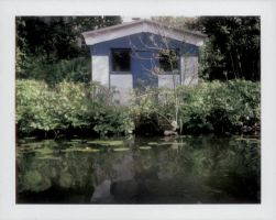 little blue house by the river by Catliv