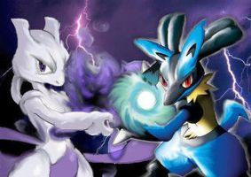 Lucario and Mewtwo by NUbigred