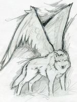 Sketch, Angel wolf by ZyriFrost