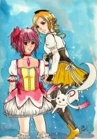 Madoka and Tomoe by Little-Roisin