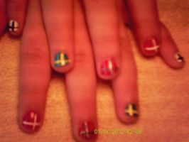 Nordic flag nails by CaitlynNicoleWright
