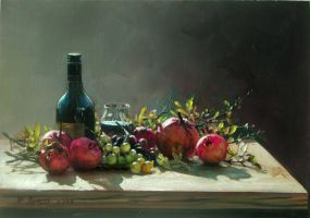 pomegranates with grapes by demetrios946