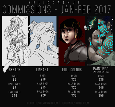 IT'S COMMISSION TIME!!!  // commissions 2017 by Heliocathus