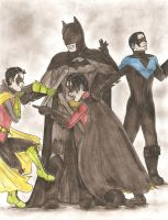 Batfamily- Wayne Manor at 1:00 a.m. by AngeloDellaMusica