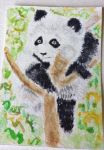 Panda Bear cub watercolor aceo original by tulipteardrops