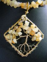 Golden Jade Chip Leaves With Silver Bark by BacktoEarthCreations