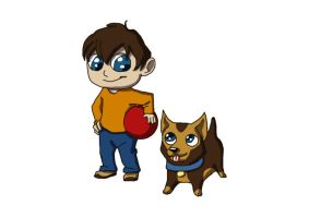 Chibi Boy and Dog by SavannaW