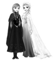 Anna and Elsa by LoverRevolveri