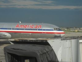 American 767 pushing back by Boeing787