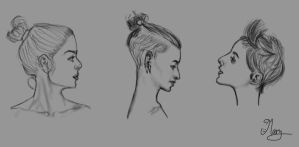 Side view portraits - drawing practice by mary3m