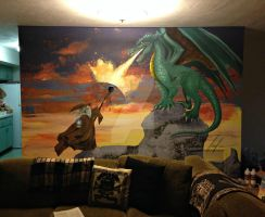 Dragon and wizard mural by songbirdholly