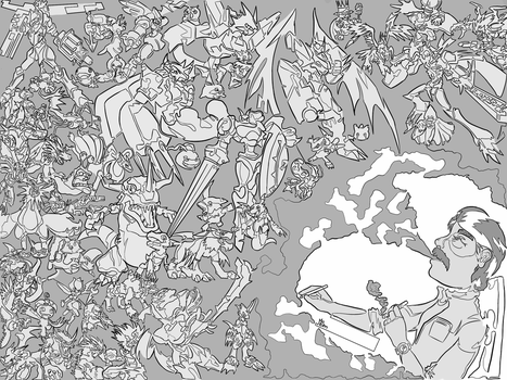 Single line challenge - Digimon by TeaDrone