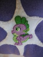 Twilight Sparkle Pillow with Spike closeup by grandmoonma