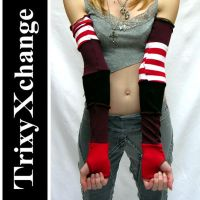 TX Red Striped Arm Warmers by TrixyXchange