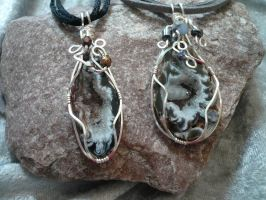 Wire Wrapped Geo's on Suede Leather or Cord by DaisyLeeDesigns