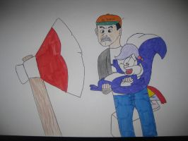 A scene from The Horror of Slumber Party Mountain by Darcygagnon
