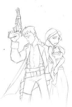 Firefly-Mal and Inara sketch by xNLx