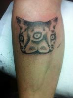 Dotwork cat I tattood by artshoulddisturb