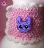 Purple bunny pixel brooch by Gloomyswirl