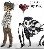 Mr.Centipede and Miss.Spider by Lily-pily