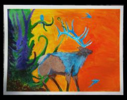 expressionistic elk by amazininbed1