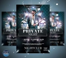Birthday Private Night Party Flyer template by Grandelelo
