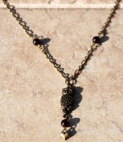 Night Owl Necklace with Garnet by kittykat01