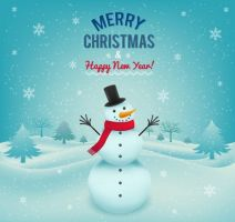 Merry Christmas card with snowman by freebiespsd