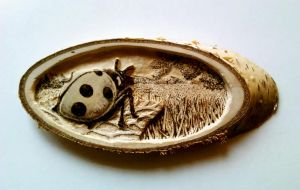 Ladybug: Carved and burned by FizikArt