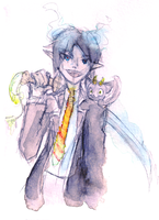 Blue Exorcist Rin Watercolor by katcatlinkattack