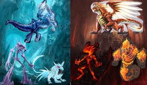 Ice Beast Dragon Monster Vs Fire Beast Dragon by locuaz15143