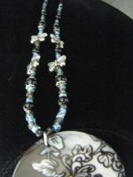 Black Blue Butterfly Shell Necklace 1 by ChibiSayuriEtsy