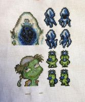 Final Fantasy 3/6 Ghost and Kappa cross stitch by PolygonRainbow