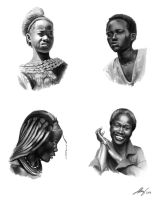 Study of_4 african females by Andreiuska