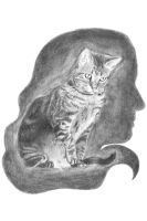 Pencil Rendering- cat and head silhouette by ZoeyElen