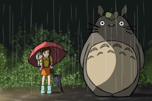 Totoro and his leaf by Irise